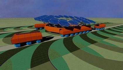 Принцип работы такой платформы предполагает передвижение робота по специальным технологическим путям, позволяя технике не заезжать на открытый грунт, предотвращая таким образом проблемы уплотнения почвы