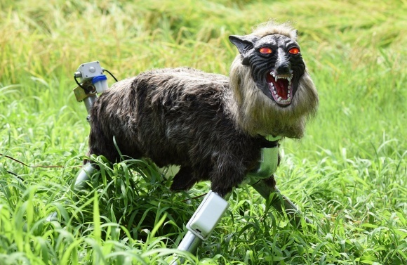 Урожай японских фермеров защищает ужасный робот-волк фото, иллюстрация