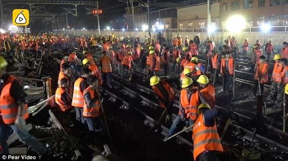 На замітку «Укрзалізниці»: в Китаї побудували  залізничну розв'язку всього за 9 годин фото, ілюстрація