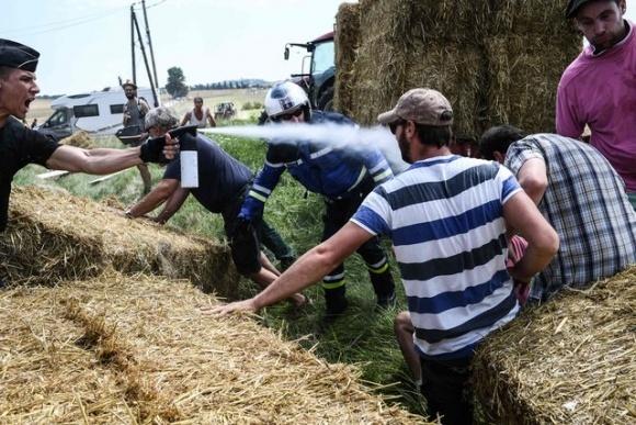 """Французькі фермери зірвали """"Тур де Франс"""", закидавши гонщиків сіном фото, ілюстрація"""