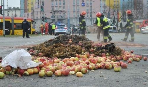 Горящие шины, рассыпанные на асфальте яблоки и свиная туша — польские аграрии протестуют фото, иллюстрация