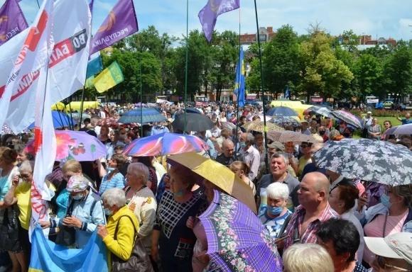Біля Полтавської ОДА протестували проти впровадження ринку землі фото, ілюстрація