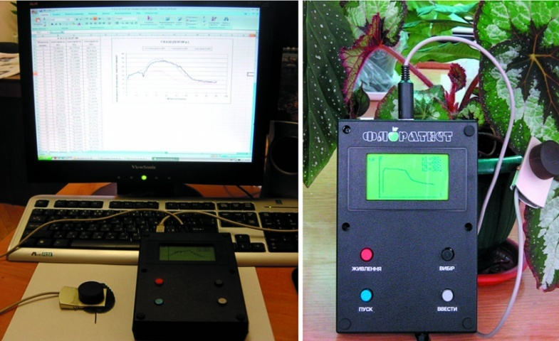 Лабораторно-польовий прилад «Флоратест» з оптичною кліпсою для вимірів фотоіндукції флуоресценції хлорофілу листя
