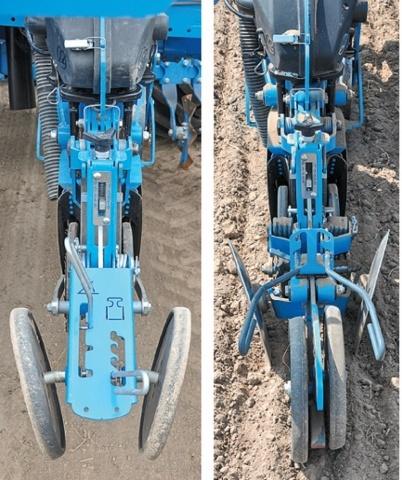 Прикочувальні ролики, що встановлені під кутом (зліва), підходять більше для легких грунтів. Нові прямі прикочувальні ролики (справа) працюють краще на важких грунтах. Дискові загортачі додатково нагортають землю на рядок